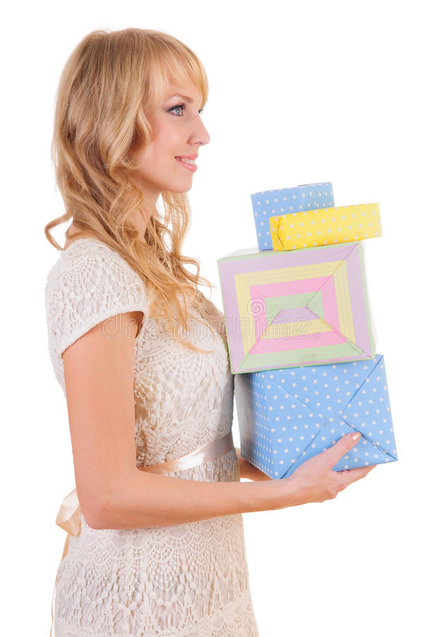 Download Woman and gift boxes stock photo. Image of advertising - 27270906