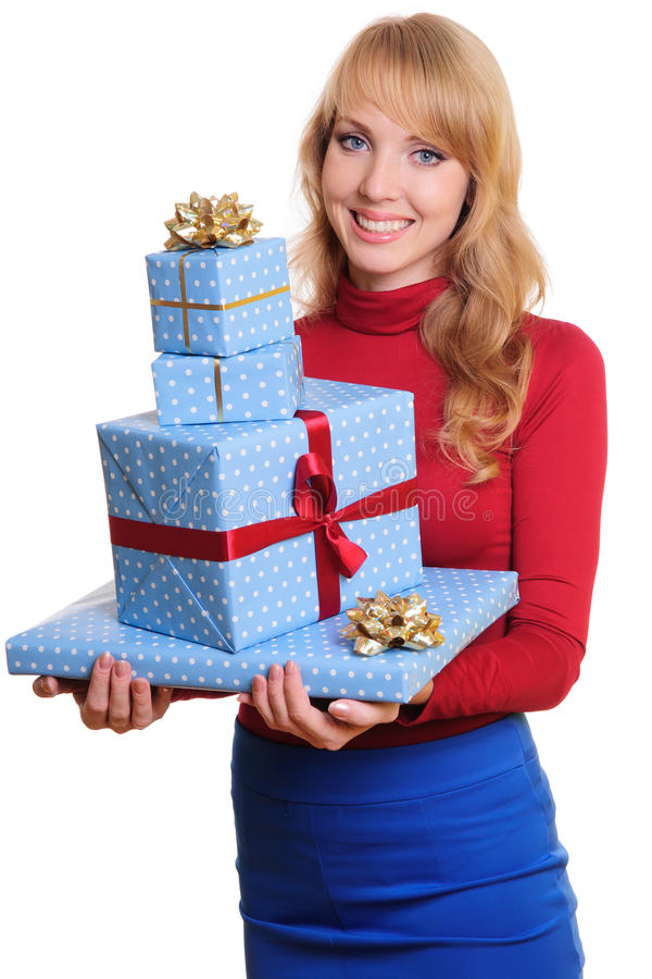 Woman And Gift Boxes Stock Image