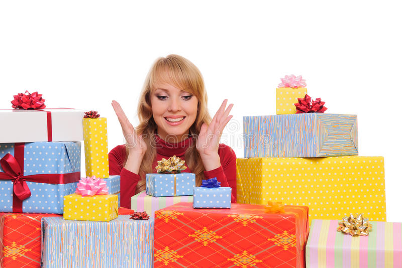 Woman And Gift Boxes Stock Photo