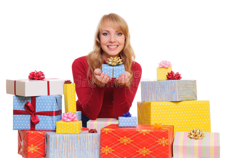 Download Woman and gift boxes stock image. Image of isolated, cheerful - 27271019