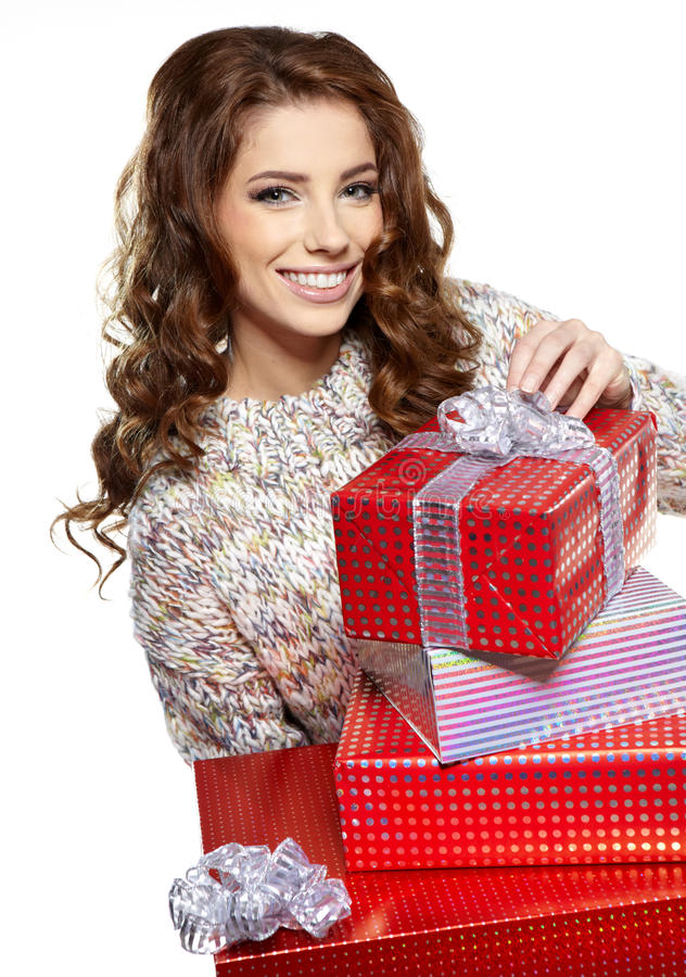 Woman With A Gift Boxes Royalty Free Stock Image