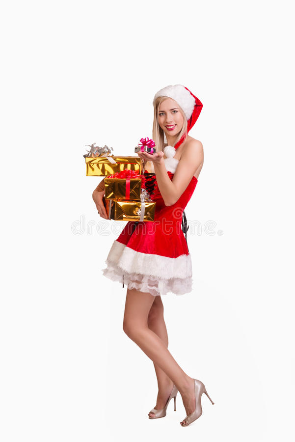 Woman with gift boxes royalty free stock photos