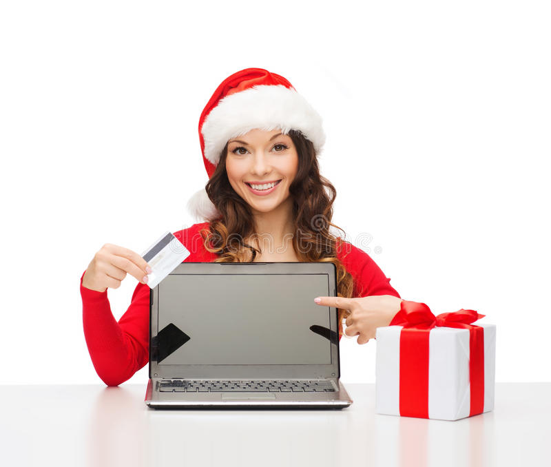 Download Woman With Gift, Laptop Computer And Credit Card Stock Photo - Image: 34774404