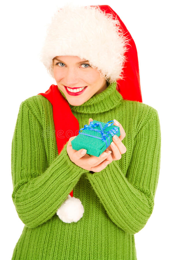 Download Woman With Gift And Santa Hat Stock Image - Image of xmas, present: 21786065
