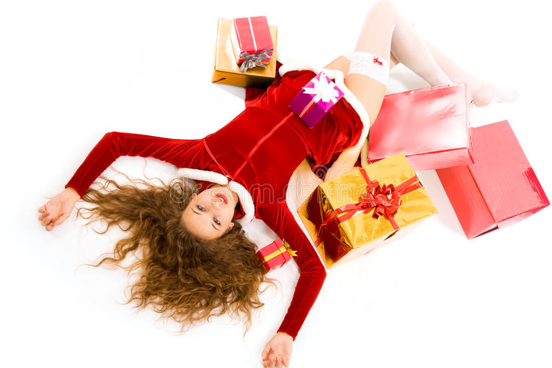 Woman with giftboxes stock photography