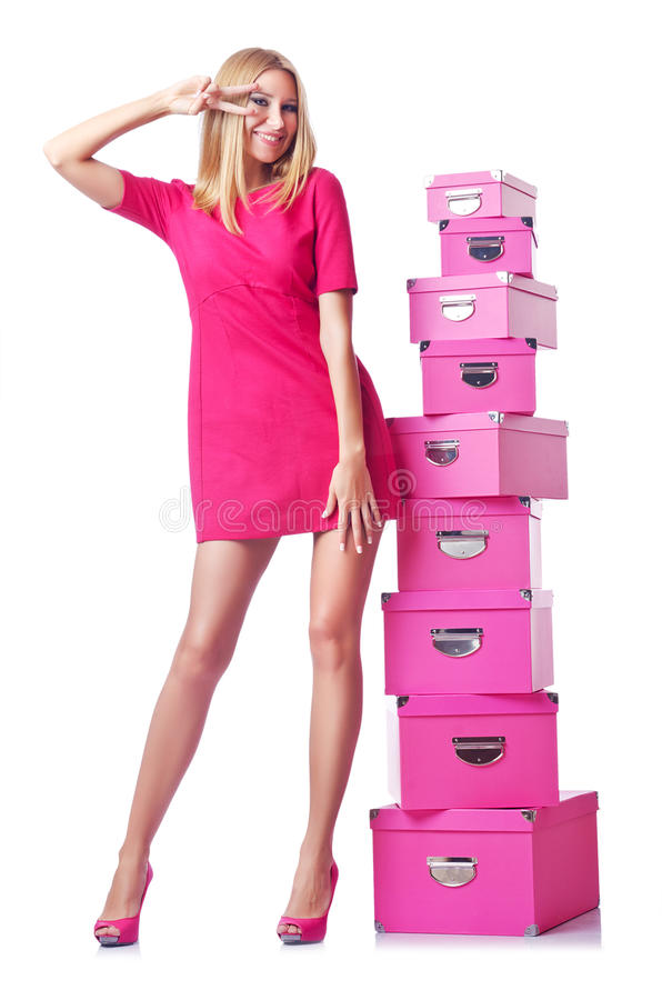 Woman with giftboxes royalty free stock photography