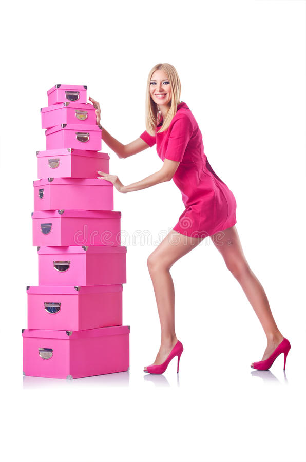 Woman With   Giftboxes Royalty Free Stock Photo