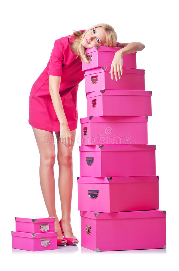 Woman with giftboxes stock images