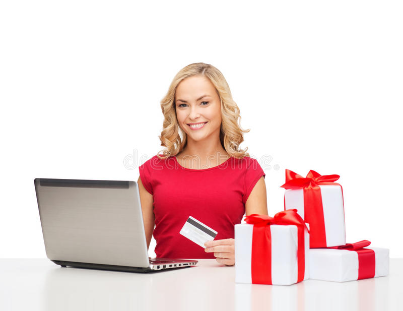 Download Woman With Gifts, Laptop Computer And Credit Card Stock Image - Image: 34773967