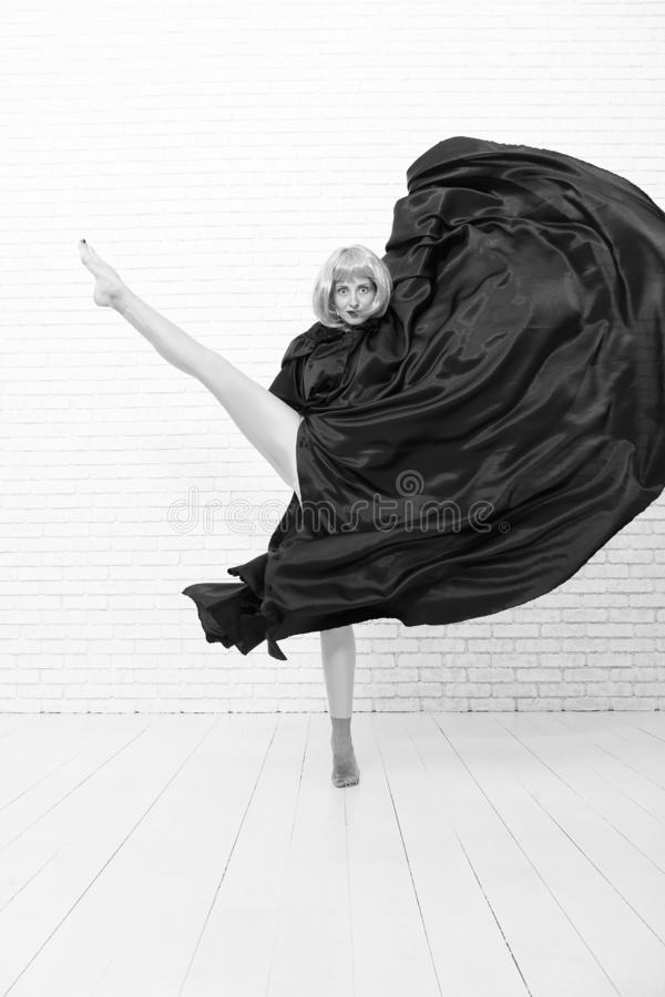 Woman ginger wig performing modern art dance. Dancer lifestyle. Stop hiding bright energy. Feel your body. Dancing royalty free stock images