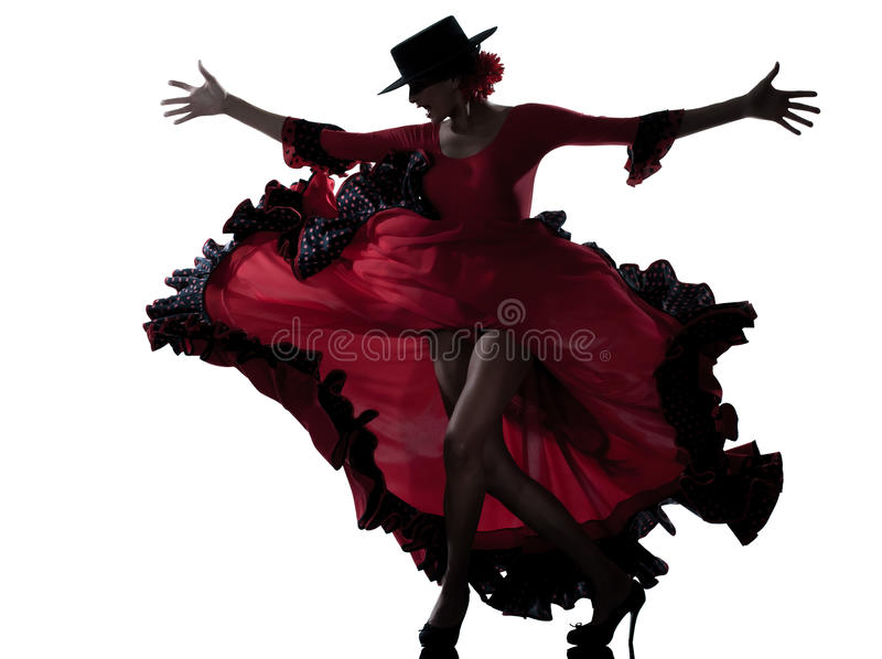 Woman gipsy flamenco dancing dancer. One woman gypsy flamenco dancing dancer on studio isolated white background royalty free stock image