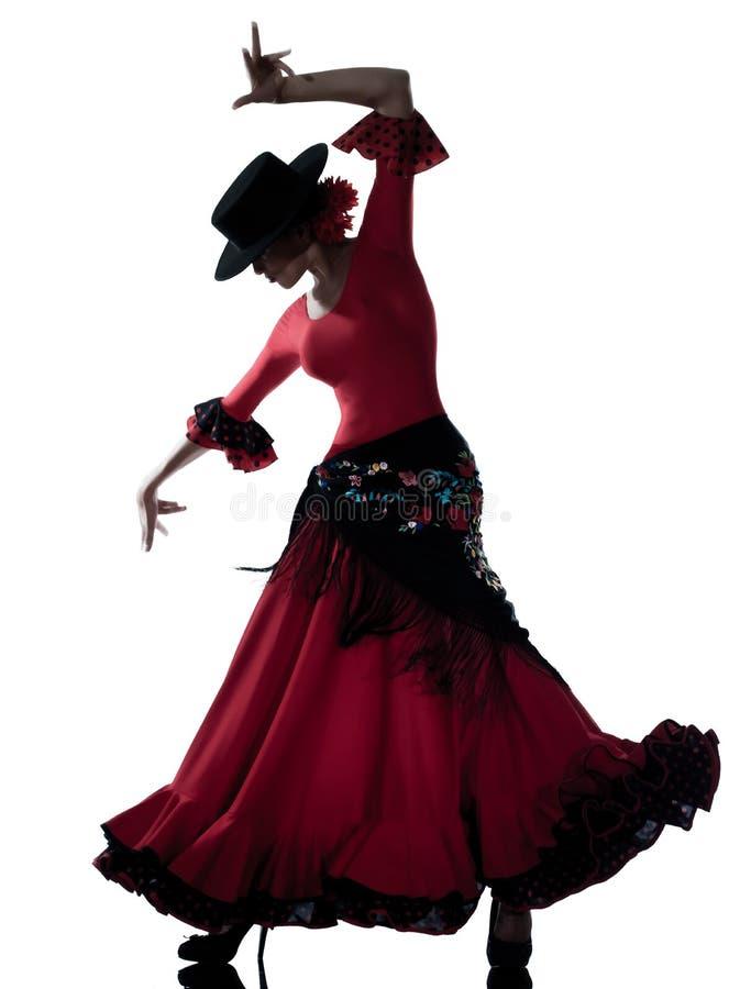 Woman gipsy flamenco dancing dancer. One woman gypsy flamenco dancing dancer on studio isolated white background stock image