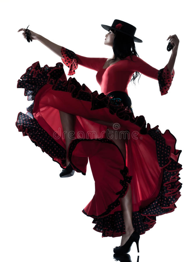 Woman gipsy flamenco dancing dancer. One woman gypsy flamenco dancing dancer on studio isolated white background stock images