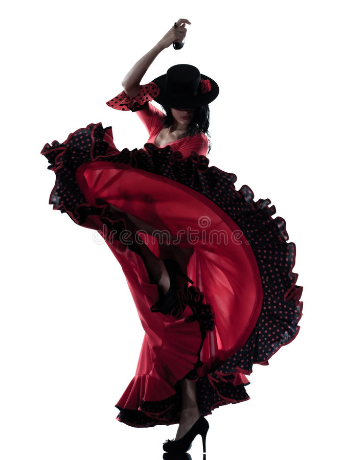 Woman gipsy flamenco dancing dancer. One woman gypsy flamenco dancing dancer on studio isolated white background royalty free stock photos