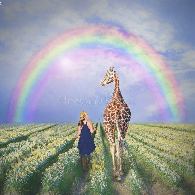 Woman and giraffe royalty free illustration