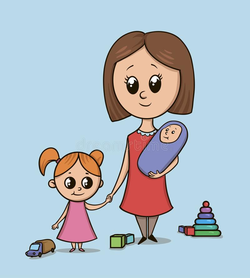 Woman with a girl and a baby on a playground among toys. Babysitter or mom with a toddler holds girl by the hand. Isolated vector illustration on blue stock illustration