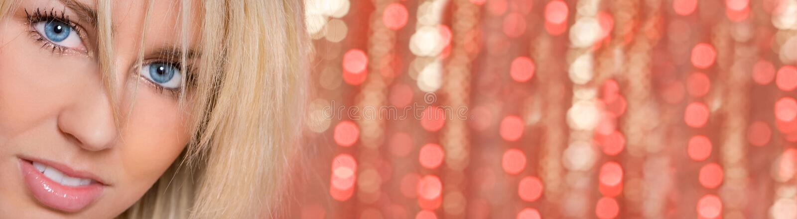 Woman Girl Blue Eyes Bokeh Lights Background Panorama royalty free stock photography