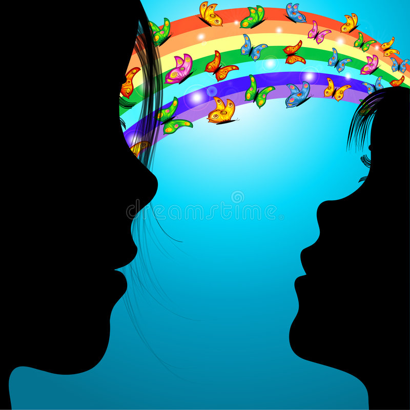 Download Woman,girl & Butterflies Over The Rainbow Stock Illustration - Image: 4824581
