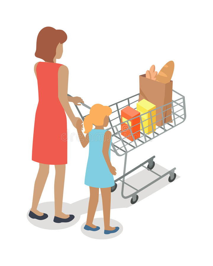 Woman and Girl with Cart Purchases in Flat Design. Shop cart customer woman buy purchase, trolley with purchase, consumer with goods, food product in cart stock illustration