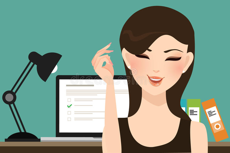 Woman girl do online test exams quiz with computer laptop assessment. Vector vector illustration