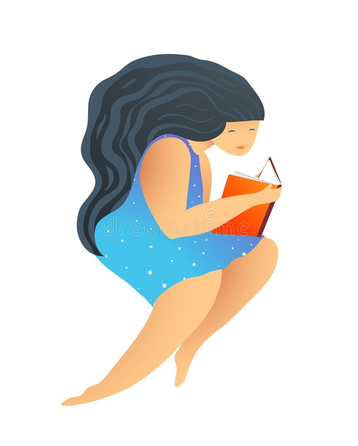 Woman or Girl Reading Book Studying Literature. Modern flat style girl reading a book studying illustration, isolated vector illustration