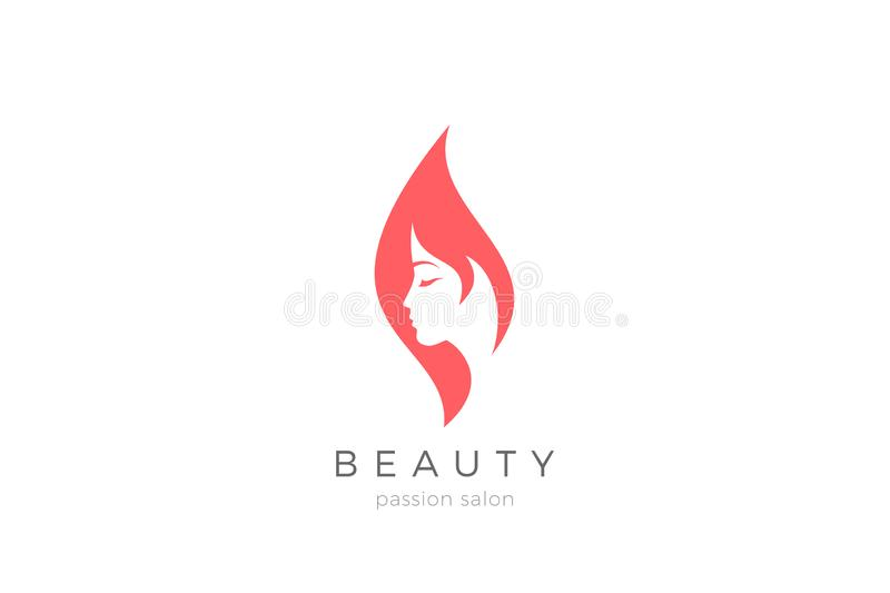 Woman Girl silhouette abstract Logo design for Beauty Fashion salon vector template stock illustration