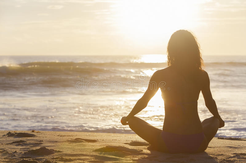 Woman Girl Sitting Sunrise Sunset Bikini Beach stock images