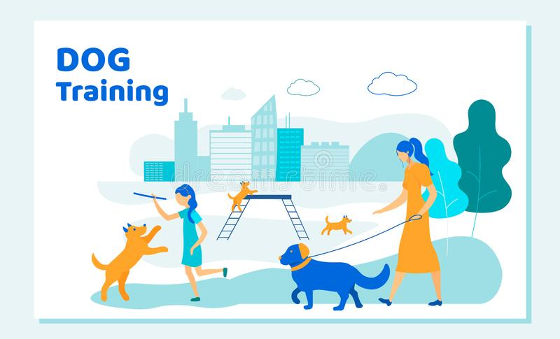 Woman and Girl Spend Time with Dogs in City Park vector illustration