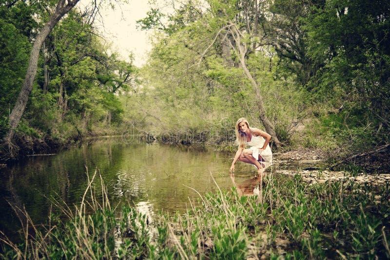 Woman girl. Woman water river royalty free stock photo