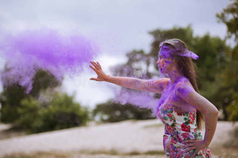 Woman gives energy. I give you healing energy royalty free stock photo