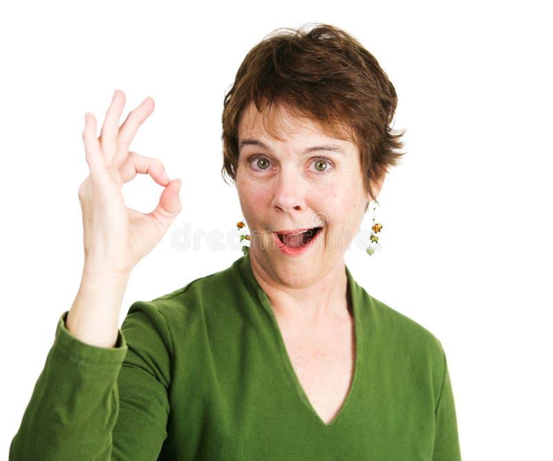 Woman Gives Enthusiastic Okay royalty free stock image