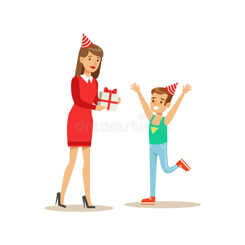 Woman Giving Boy A Present, Kids Birthday Party Scene With Cartoon Smiling Character vector illustration
