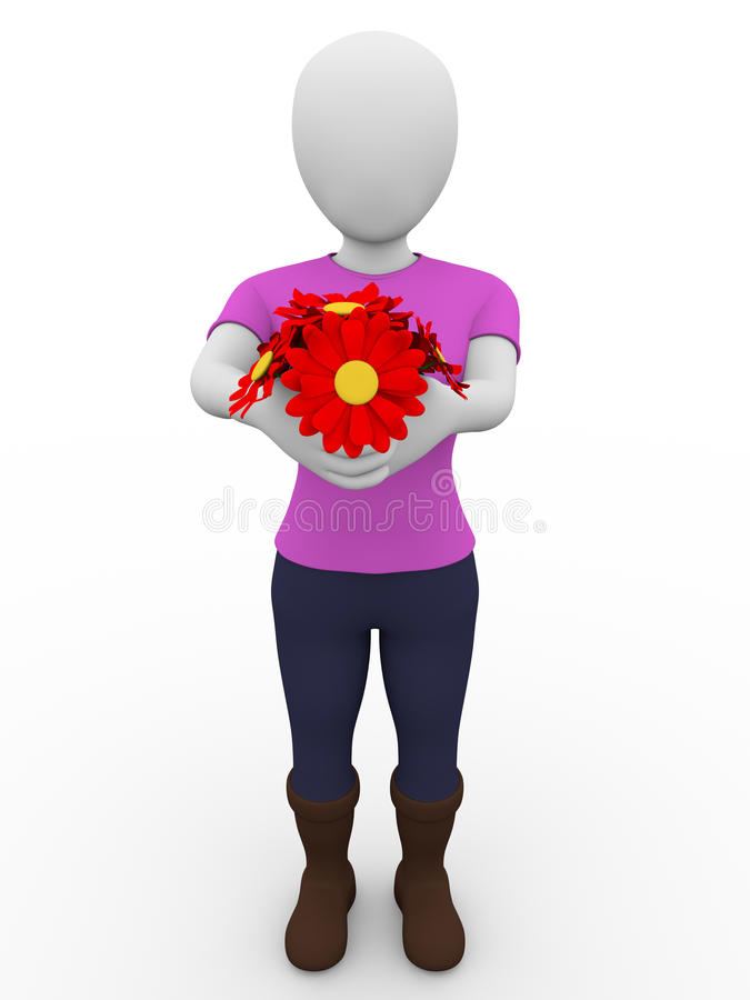 Woman Giving Flowers Stock Images