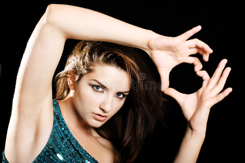 Woman giving love sign royalty free stock photos