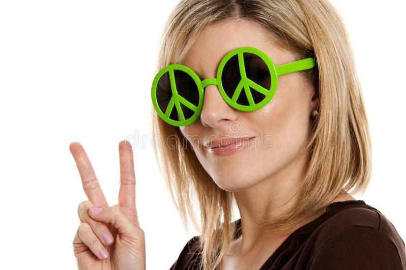 Download Woman Giving Peace Sign Royalty Free Stock Image - Image: 23839656