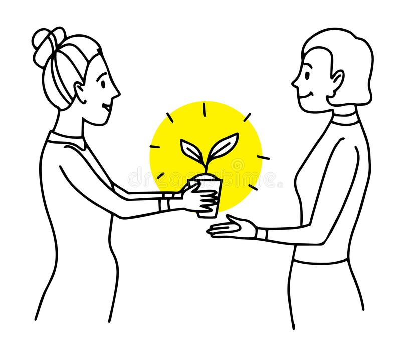 Woman giving a pot with plant to another woman. Lifestyle situation illustration. Vector isolated outline drawing royalty free illustration