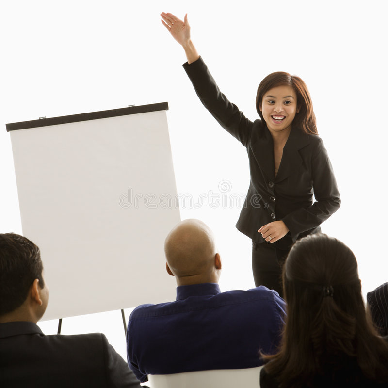 Woman giving presentation royalty free stock images