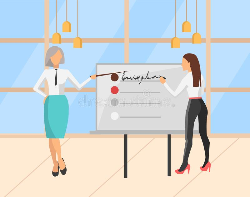 Woman Giving Presentation in Conference Hall Room. People presenting new strategy plan for company vector, woman with whiteboard and inscriptions. Woman wearing stock illustration