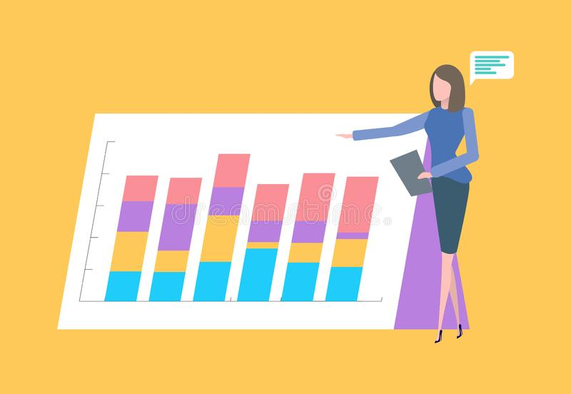 Presentation on Paper Board Infographics Charts. Woman giving presentation vector, presenter with board and information, businesswoman with plan of project stock illustration