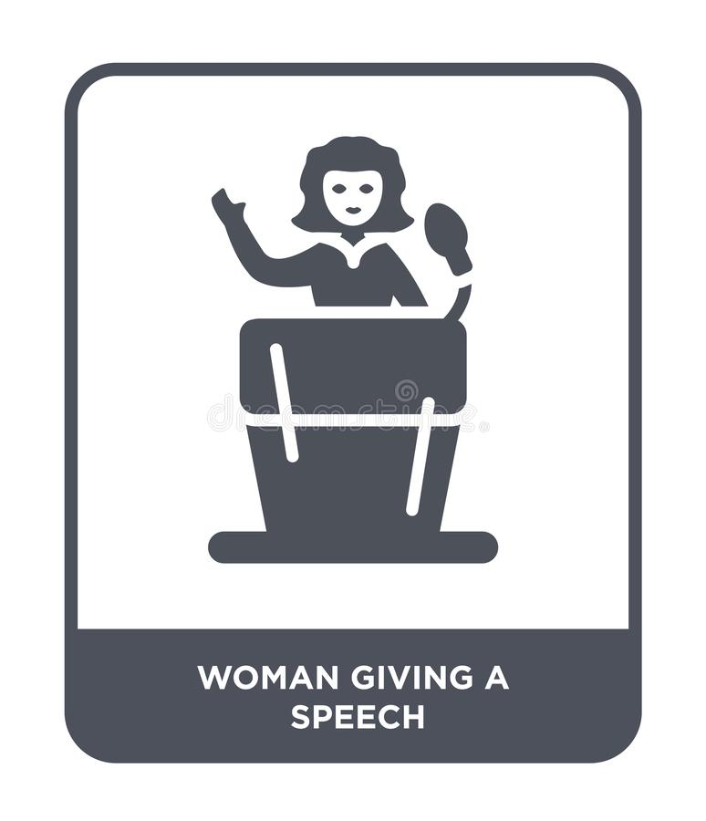 Woman giving a speech icon in trendy design style. woman giving a speech icon isolated on white background. woman giving a speech. Vector icon simple and modern vector illustration