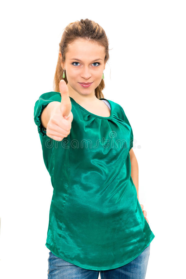 Woman giving two thumbs up. On white background royalty free stock images