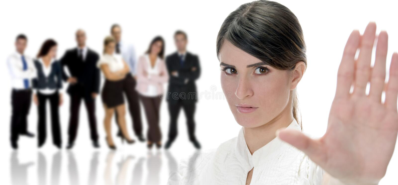 Woman giving warning to you stock image