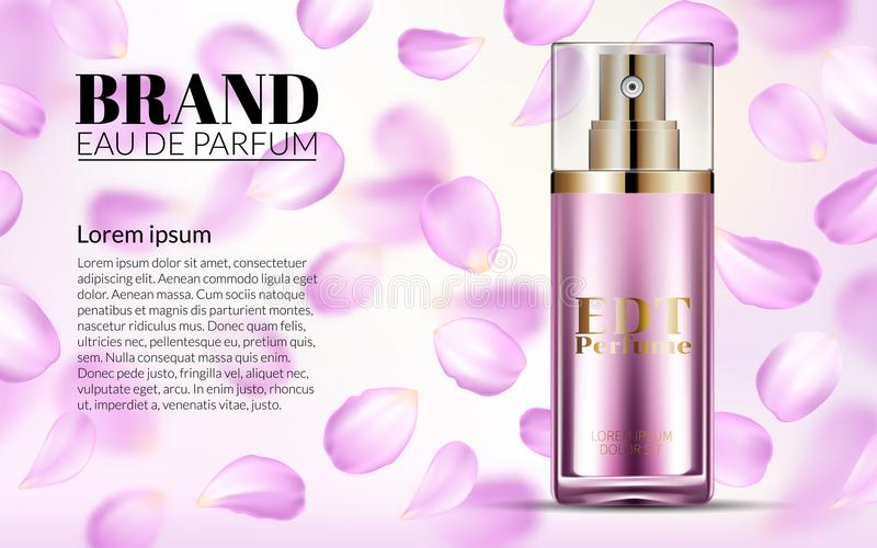 Woman Glamour Pink Rose Water Spray Bottle. Perfume Contained in Glass Mock up with Falling petals Flowers Background vector illustration
