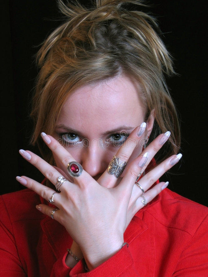 Download Woman glance stock image. Image of glance, rings, hair - 613665
