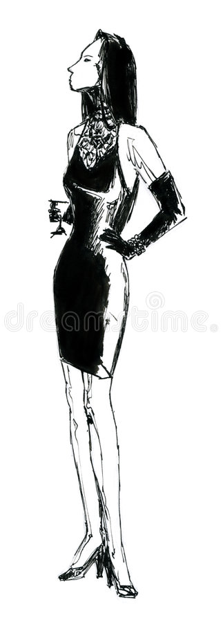 Charming Woman with glass royalty free illustration
