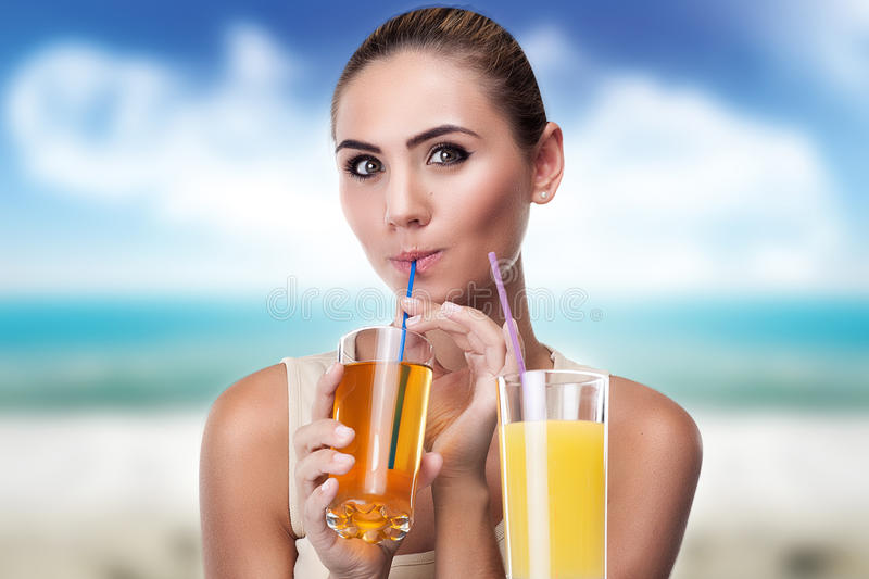 woman with glass of juice stock images