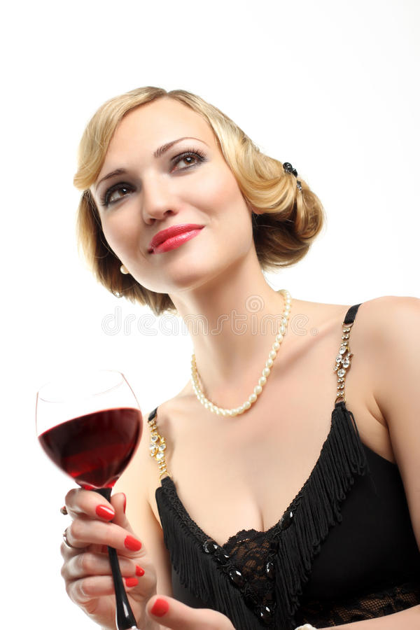 Download WOMAN WITH GLASS RED WINE stock photo. Image of people - 25224694