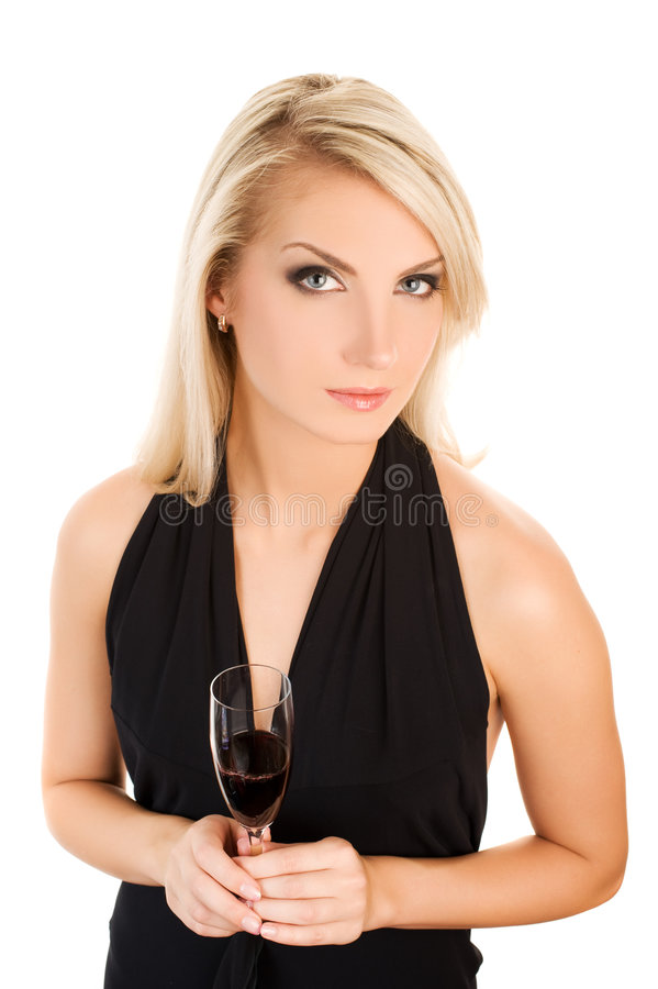 Download Woman With A Glass Of Red Wine Stock Photo - Image: 7393338