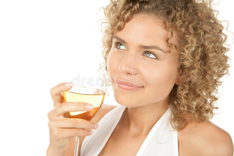 Woman with glass of white wine royalty free stock photo