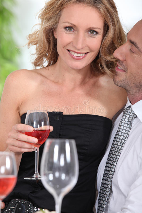 Download Woman with glass of wine stock photo. Image of evening - 25343046